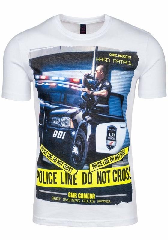 Bílé pánské tričko s potiskem Bolf 3211