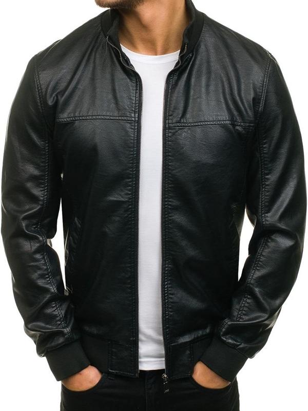 Černá pánská kožená bunda z ekokůže Bolf 8006