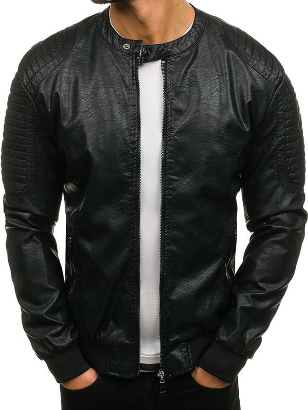 Černá pánská kožená bunda z ekokůže Bolf 8803