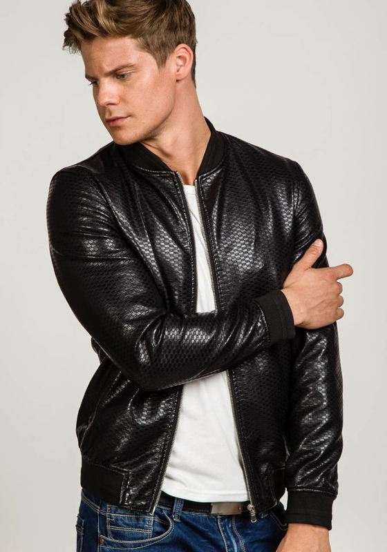 Černá pánská kožená bunda z ekokůže Bolf 8980
