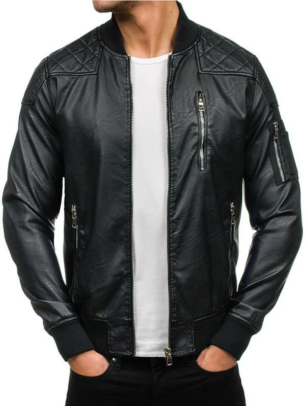 Černá pánská kožená bunda z ekokůže Bolf 9156
