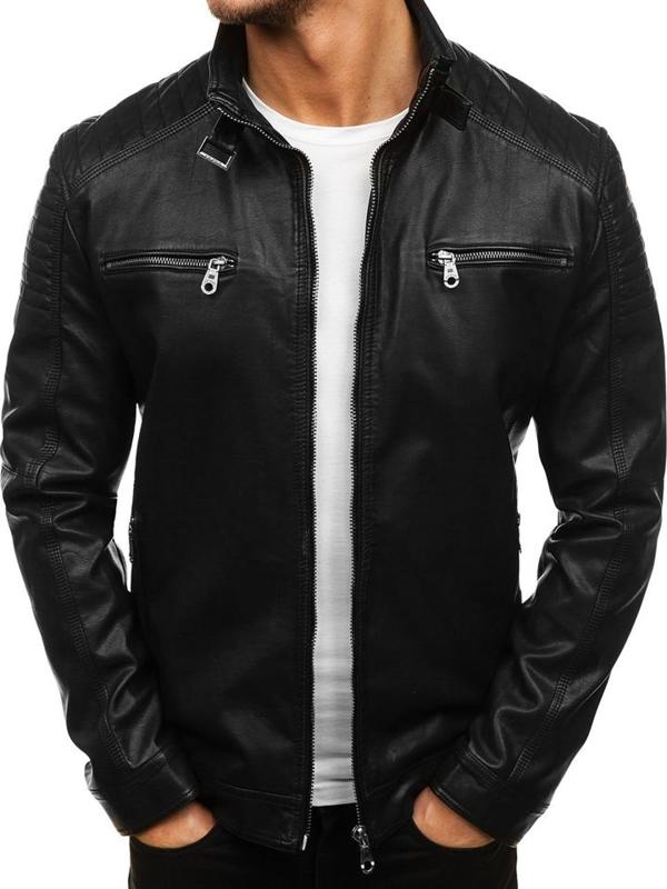 Černá pánská kožená bunda z ekokůže Bolf EX305
