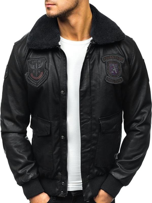Černá pánská kožená letecká bunda z ekokůže Bolf 4788