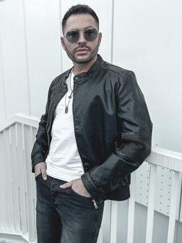 Černá pánská koženková bunda Bolf 1073-A