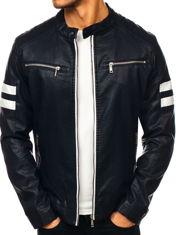 Černá pánská koženková bunda Bolf 1075