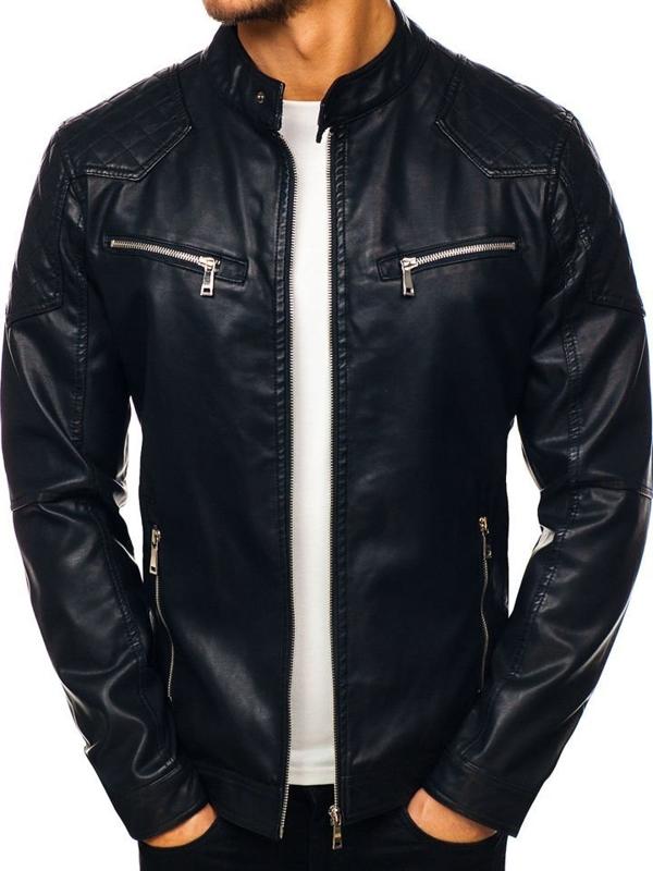 Černá pánská koženková bunda Bolf 1078