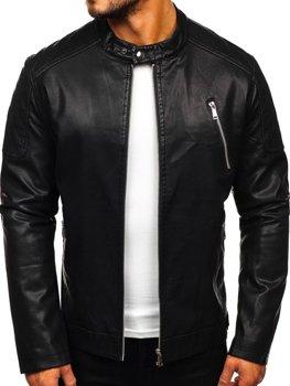 Černá pánská koženková bunda Bolf 1107
