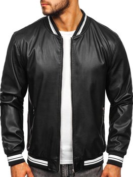 Černá pánská koženková bunda Bolf 1132