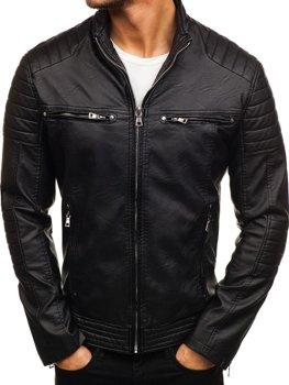 Černá pánská koženková bunda Bolf 9103