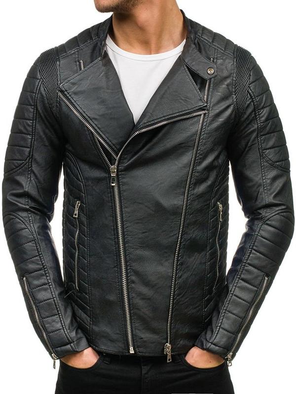 Černá pánská koženková bunda Bolf 9129