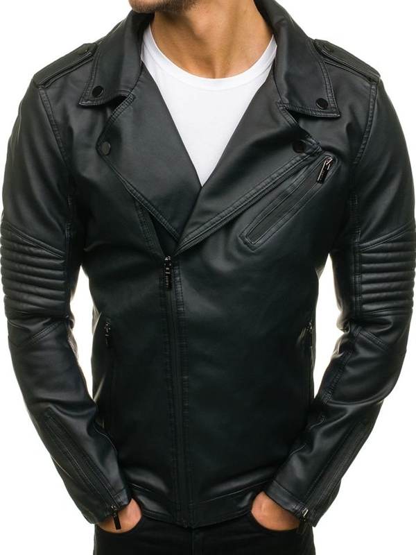 Černá pánská koženková bunda Bolf C324