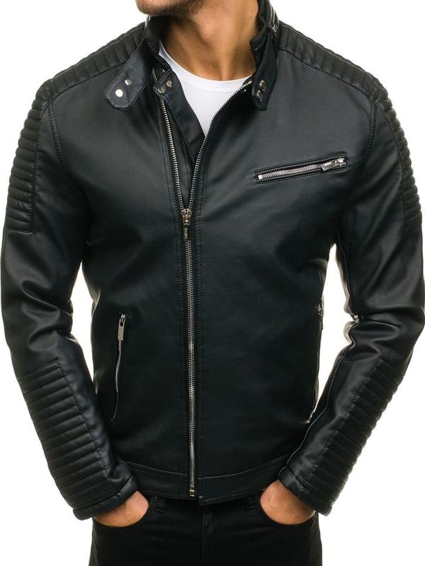 Černá pánská koženková bunda Bolf C325