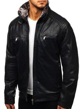 Černá pánská koženková bunda Bolf EX834