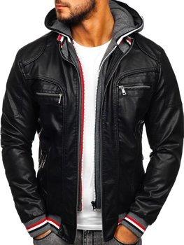 Černá pánská koženková bunda s kapucí Bolf 1103