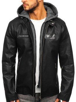 Černá pánská koženková bunda s kapucí Bolf 1127