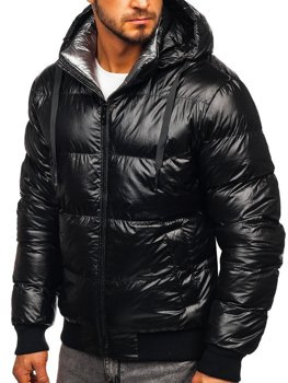 Černá pánská prošívaná zimní bunda Bolf 92556