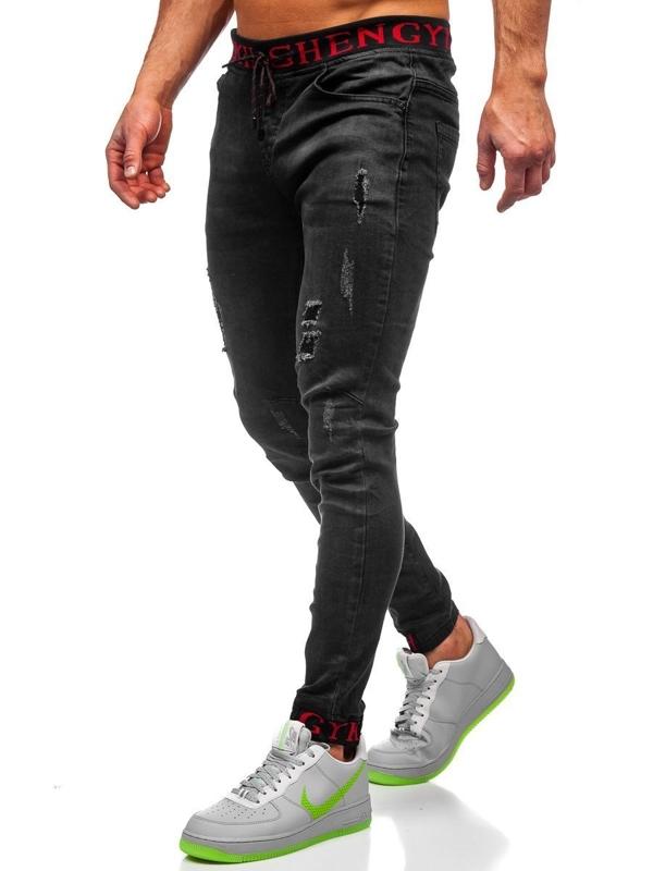 Černé pánské džínové jogger kahoty Bolf KA1131