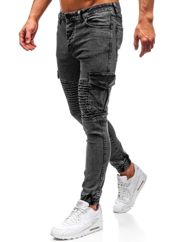 Černé pánské džínové jogger kalhoty Bolf 1064