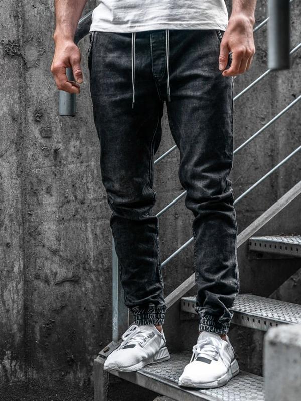 Černé pánské džínové jogger kalhoty Bolf KA1078