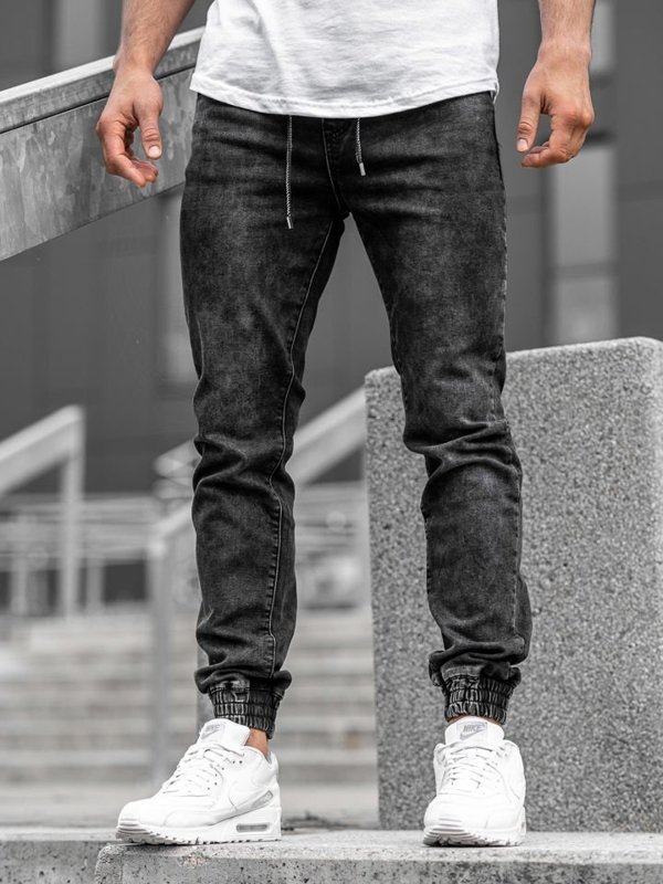 Černé pánské džínové jogger kalhoty Bolf KA1082