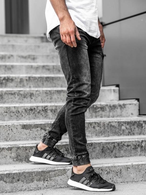 Černé pánské džínové jogger kalhoty Bolf KA739
