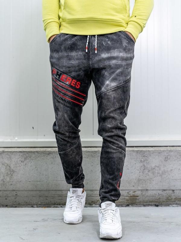 Černé pánské džínové jogger kalhoty Bolf KK1068