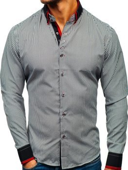 Černo-bílá pánská proužkovaná košile s dlouhým rukávem Bolf 2751