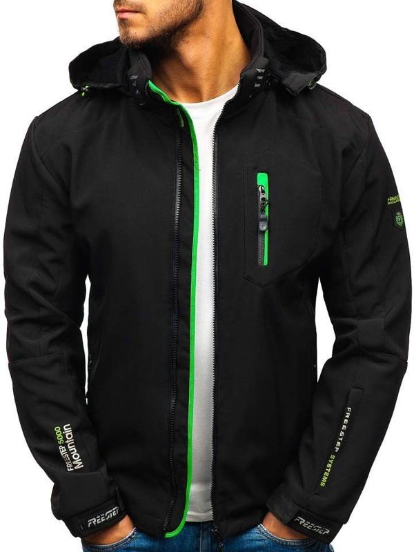 Černo-zelená pánská softshellová bunda Bolf P135-A