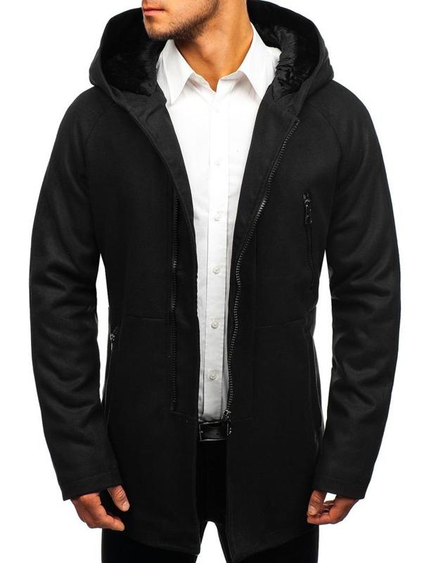 Černý pánský zimní kabát Bolf 3128