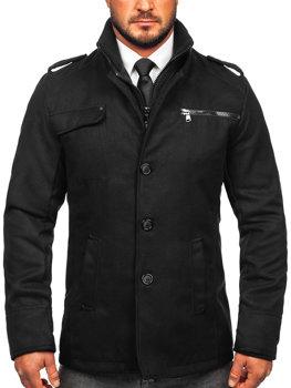 Černý pánský zimní kabát Bolf 8856