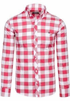 Červená pánská kostkovaná košile s dlouhým rukávem Bolf 0773