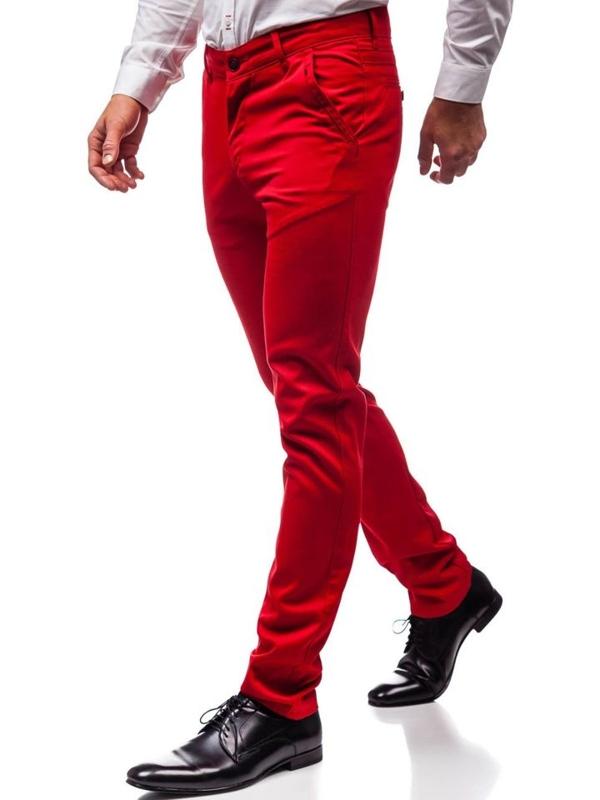 Červené pánské společenské kalhoty Bolf 3166