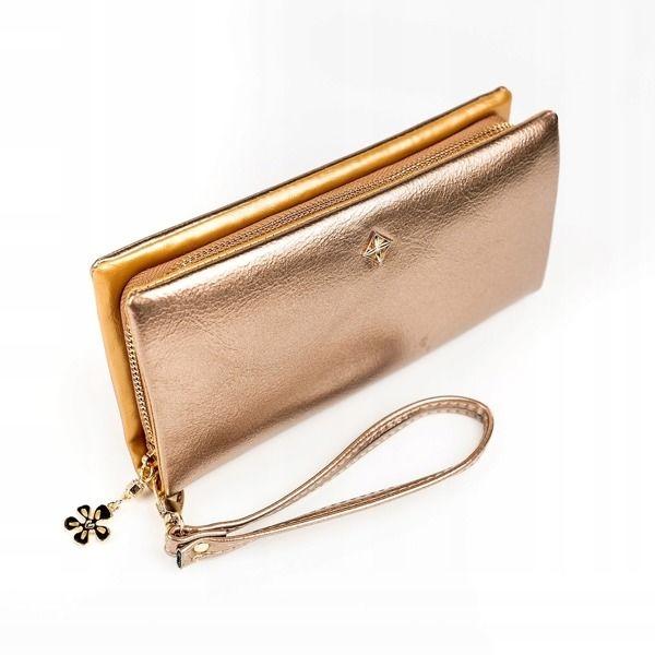Dámská zlatá koženková peněženka 1172