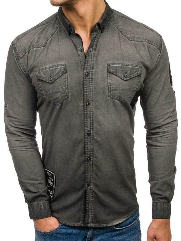 Grafitová pánská džínová košile s dlouhým rukávem Bolf 2053