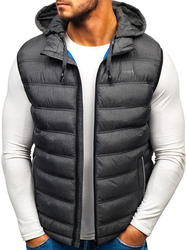 Grafitová pánská prošívaná vesta s kapucí Bolf AB030