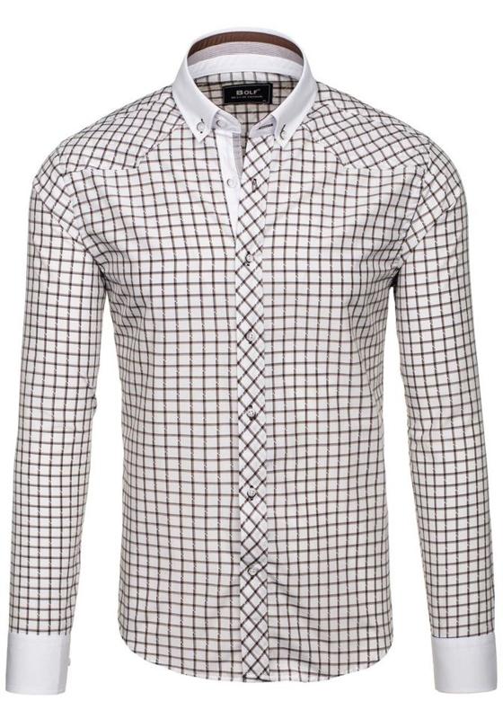 Hnědá pánská elegantní kostkovaná košile s dlouhým rukávem Bolf 6959
