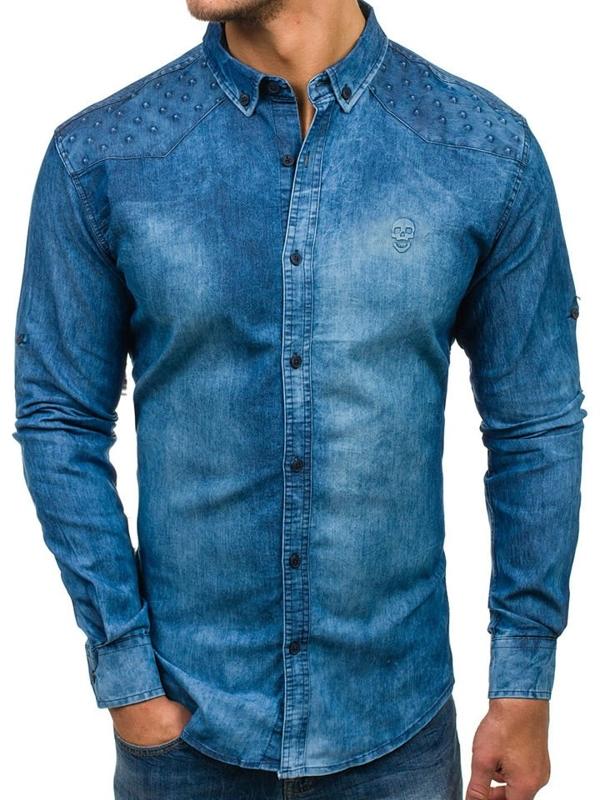 Modrá pánská džínová košile s dlouhým rukávem Bolf 0540