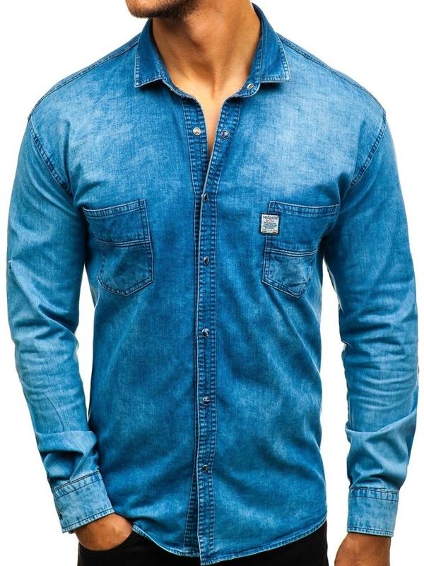 Modrá pánská džínová košile s dlouhým rukávem Bolf 2642