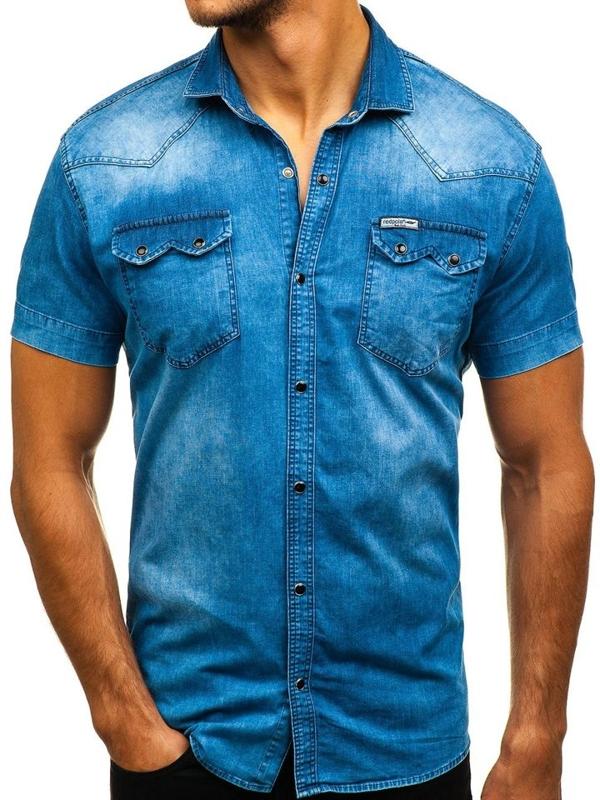 Modrá pánská džínová košile s krátkým rukávem Bolf 2636