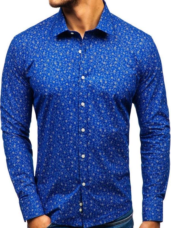 Modrá pánská vzorovaná košile s dlouhým rukávem Bolf 201G64