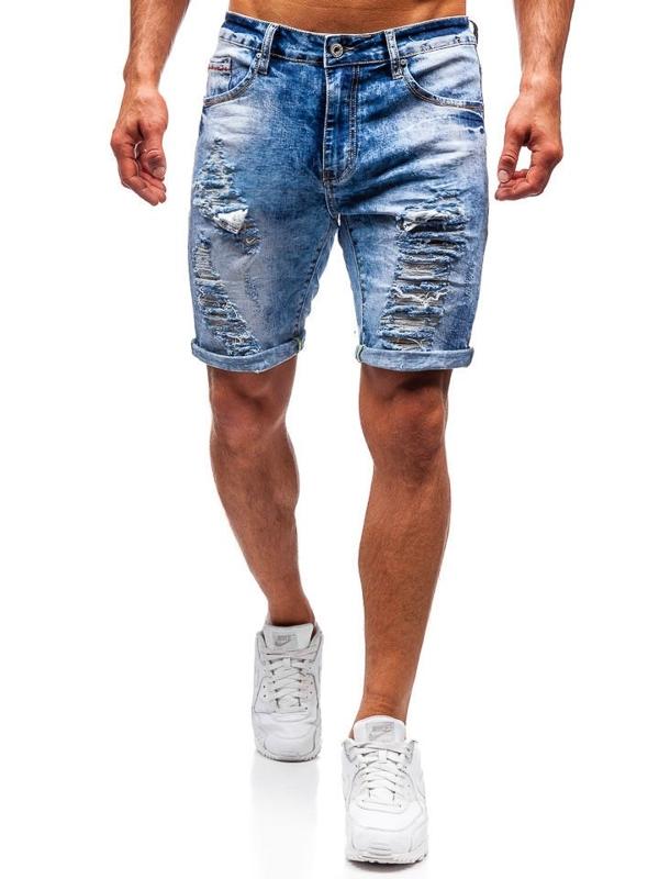 Modré pánské džínové kraťasy Bolf T567