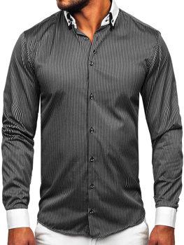 Pánská černá elegantní pruhovaná košile s dlouhým rukávem Bolf 0909