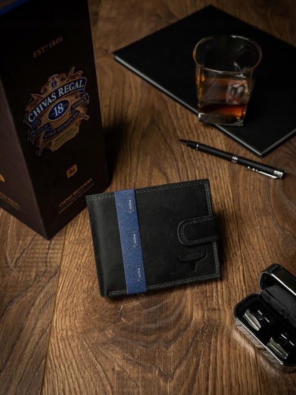 Pánská černá kožená peněženka 2227