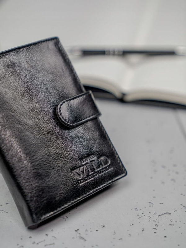 Pánská černá kožená peněženka 3193