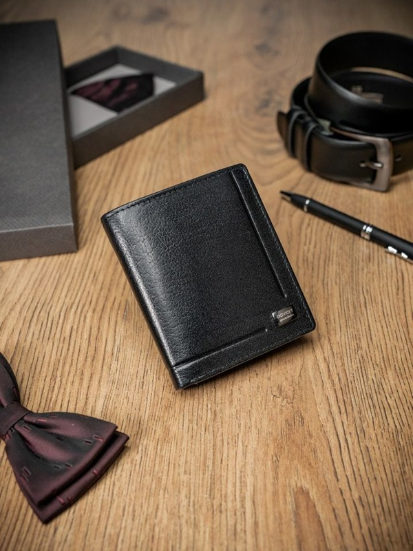 Pánská černá kožená peněženka 347