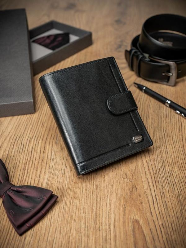 Pánská černá kožená peněženka 411