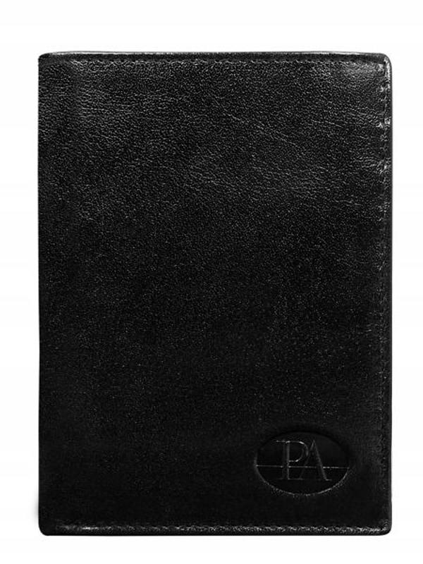 Pánská černá kožená peněženka 76