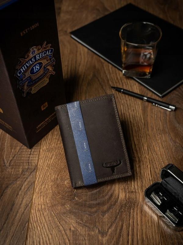 Pánská hnědá kožená peněženka 2228