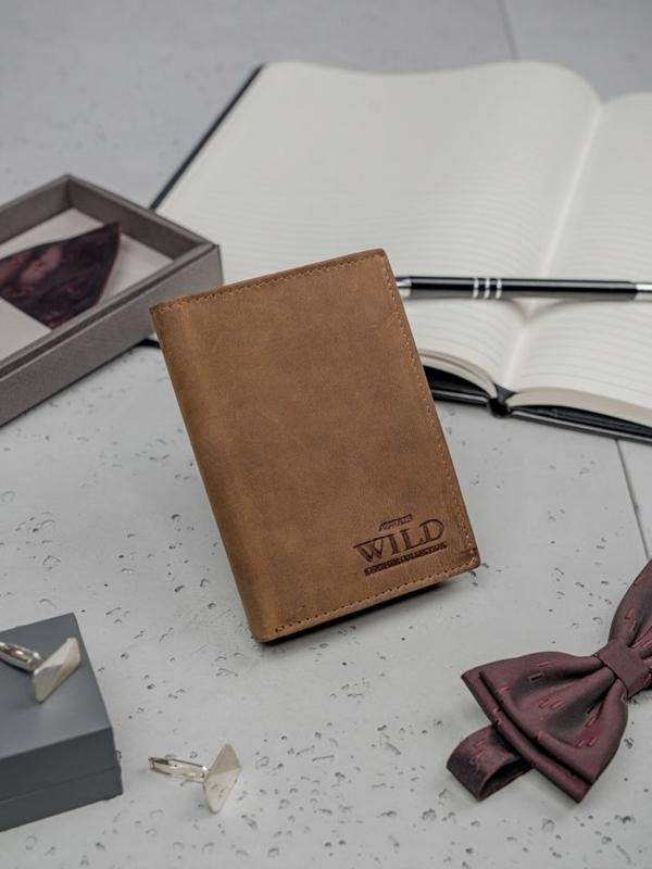 Pánská světle hnědá kožená peněženka 3185
