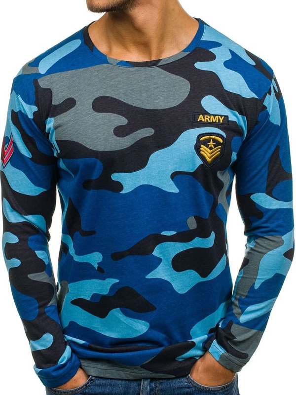 Pánské tmavě modré maskáčové tričko s dlouhým rukávem s potiskem Bolf 1086